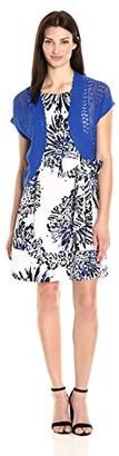 Robbie Bee Women's Jacket Printed Prada Dress with Royal Knit Shrug
