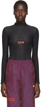 Adidas Originals By Alexander Wang Black Lace Logo Bodysuit