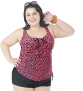 Deercon Womens Two Piece Swimwear Beach Dress Swimdress Swimsuit Plus Size( 3XL)