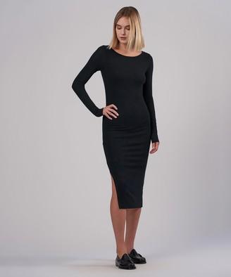Atm Modal Rib Bateaux Neck Midi Dress - Black