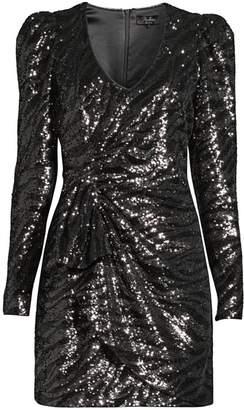 Parker Black Virginia Sequin Faux Wrap Dress