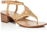 Jack Rogers Elise Denim T Strap Block Heel Sandals