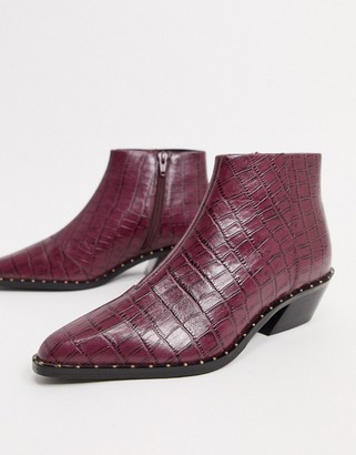 ASOS DESIGN Ariana leather western chelsea boots in purple croc
