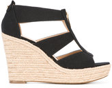 MICHAEL Michael Kors zip detail wedge sandals - women - Leather/Canvas/rubber - 9.5
