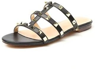 Goodnight Macaroon 'Nicole' Studded Flat Sandals (2 Colors)