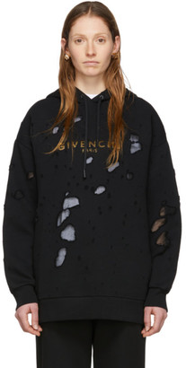 Givenchy SSENSE Exclusive Black Destroyed Hoodie