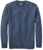 Sky Blue Lambswool Cable Knit Crew Neck Jumper