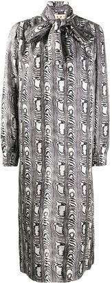 Marni Abstract-Print Silk Dress