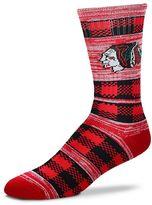 For Bare Feet Adult Chicago Blackhawks Double Plaid Crew Socks