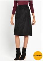 Warehouse Suedette Midi Skirt - Black