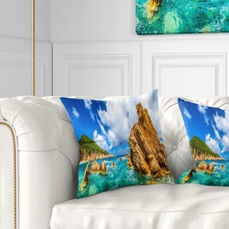 """PARADISO Seashore Costa Close View Pillow East Urban Home Size: 16"""" x 16"""", Product Type: Throw Pillow"""