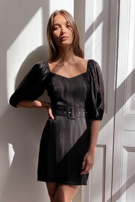 Nasty Gal Womens Puff Sleeve Us Alone Belted Mini Dress - Black