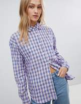 Daisy Street Boyfriend Shirt In Grunge Check
