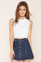 Forever 21 FOREVER 21+ Cropped Polo Sweater