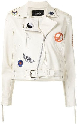 Nicole Miller Embroidered-Design Biker Jacket