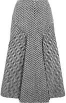 Joseph Louie Frayed Herringbone Wool-blend Midi Skirt - Gray