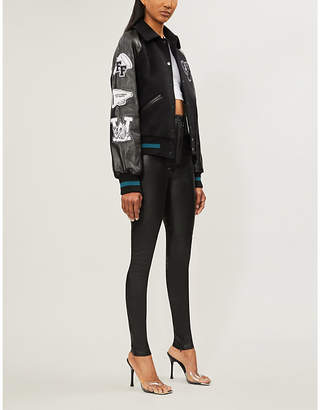 Off-White Logo-patch raglan-sleeved leather and wool-blend jacket