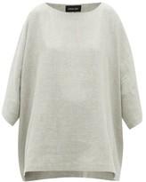 eskandar Boat-neck Linen-blend Top - Womens - Light Grey