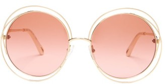 Chloé Carlina Round Metal Sunglasses - Womens - Orange Gold