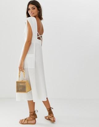 Asos Design DESIGN button through open back midi dress with pockets