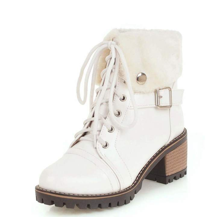 3b72b2444abea Vimisaoi Pu Warm Winter Boots for Women Lace up Fashion Ankle High Boots