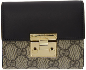Gucci Beige and Black GG Supreme Padlock Trifold Card Holder