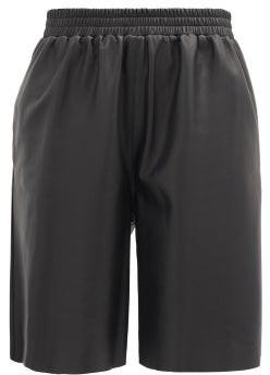 16Arlington Mandrake Elasticated-waist Leather Wide-leg Shorts - Black