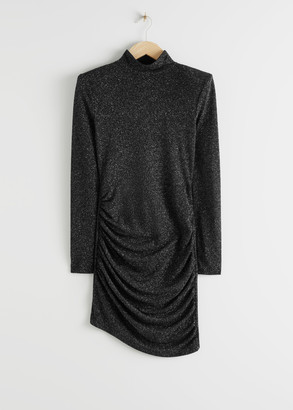 And other stories Fitted Turtleneck Glitter Mini Dress