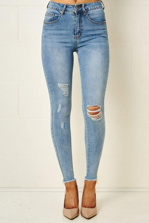 latest selection sophisticated technologies fashion style Frontrow Light-Blue Rip Jeans