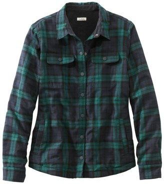 L.L. Bean L.L.Bean Women's Fleece-Lined Flannel Shirt, Snap-Front Plaid