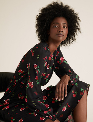 Marks and Spencer Floral Print V-Neck Midi Waisted Dress