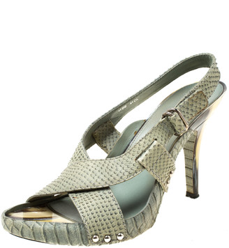 Christian Dior Green Python Leather Cross Strap Slingback Platform Sandals Size 41