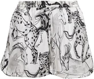 Stella McCartney Margot Racing Printed Stretch-silk Satin Pajama Shorts