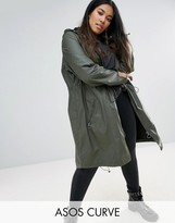 Asos Waxed Parka Rainwear With Zip Detail