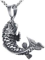 Jenhianeck Mens Hip Hop Stainless Steel Animal Carp Tag Pendant Necklace,24inches Chain