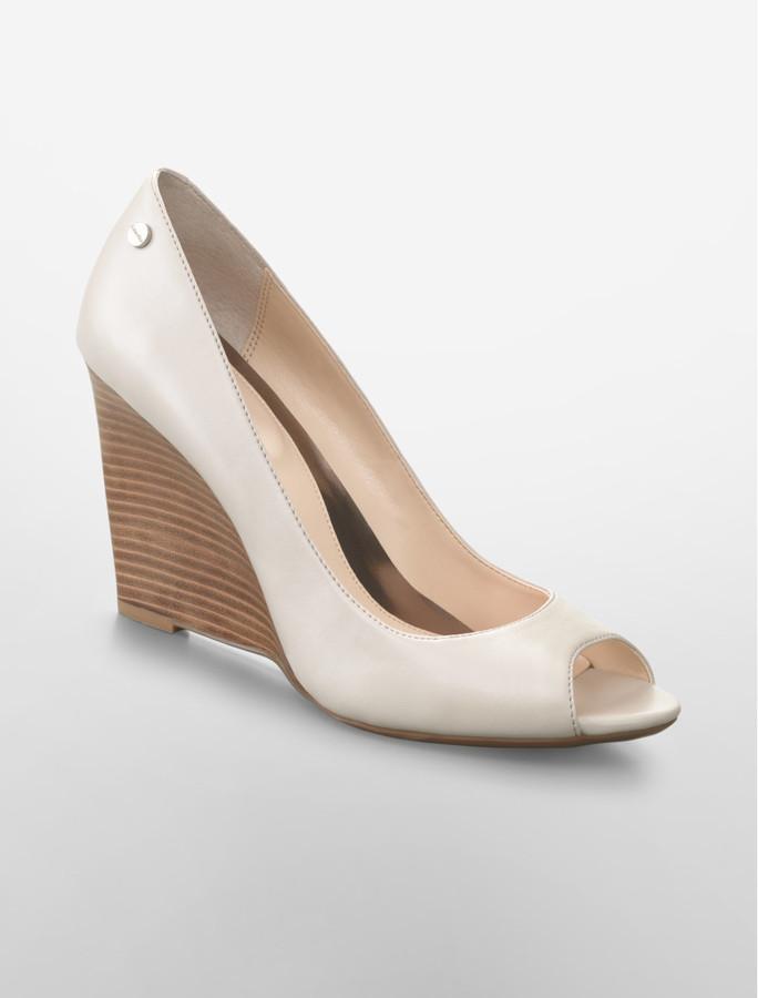PeepToe Cali Smooth Leather Peep-Toe Wedge