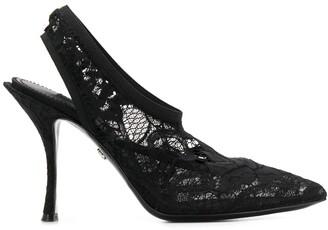 Dolce & Gabbana Floral Lace Slingback Pumps