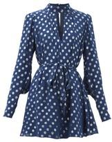 Saloni Tania Metallic Polka-dot Mini Dress - Womens - Navy Silver