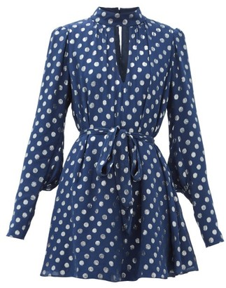 Saloni Tania Metallic Polka-dot Mini Dress - Navy Silver