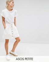 Asos Denim Button Through Skater Skirt in White