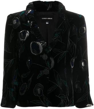 Giorgio Armani Pre Owned Velvet Ruffled Lapel Blouse