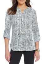Investments Y-Neck Roll Tab High-Low Hem Blouse