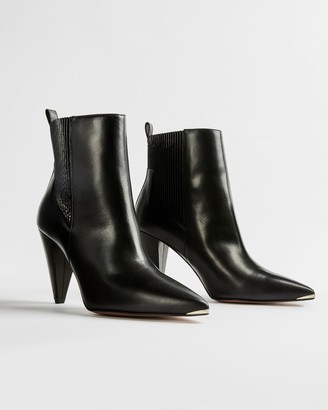 Ted Baker Leather Cone Heeled Ankle Boots