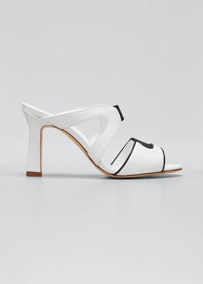 Manolo Blahnik Abeba Two-Band Slide Sandals