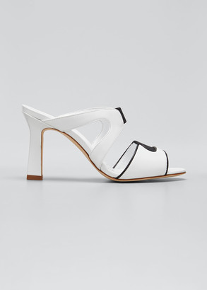 Manolo Blahnik Abeba Two-Band Slide Sandals