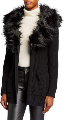 MICHAEL Michael Kors Sweater Coat w/ Removable Faux-Fur Collar