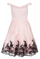 Quiz Pink Satin Embroidered Hem Bardot Dress