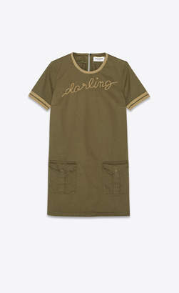 """Saint Laurent Dresses Dress In Cotton And Linen Gabardine, With """"darling"""" Embroidery Khaki 10"""