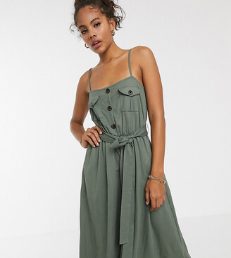 Asos DESIGN Tall exclusive midi utility belted sundress