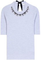 Erdem Dree Embellished Virgin Wool-blend Top